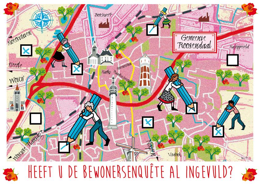 ansichtkaart_postkaart_gemeente_roosendaal_ondernemers_peiling_studio_bliq_ontwerp_illustratie