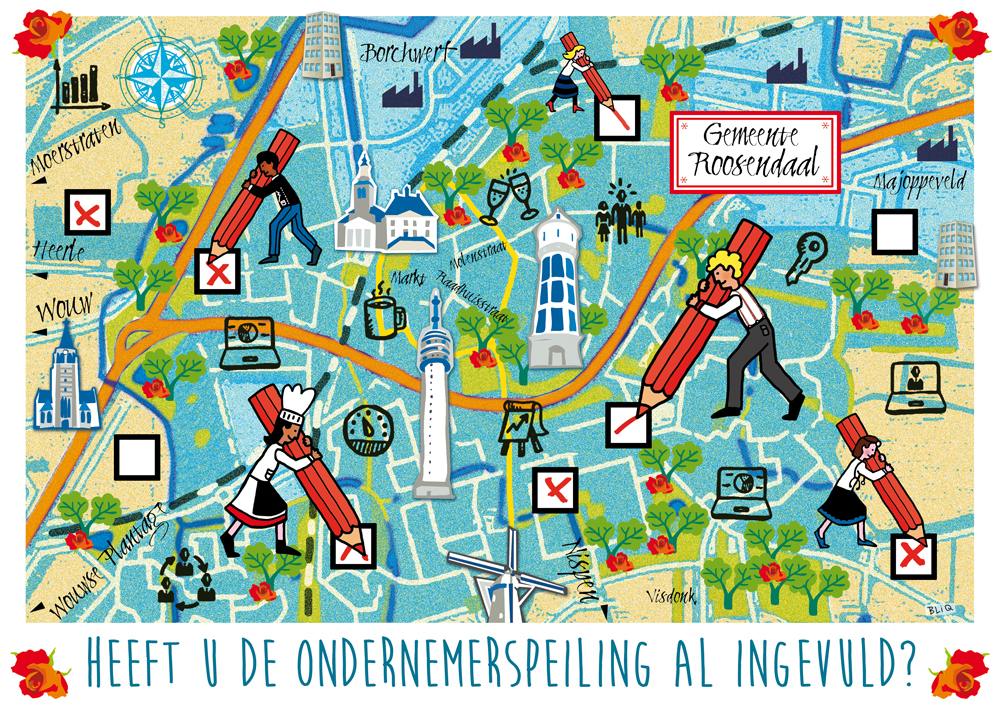 kaart_postkaart_gemeente_roosendaal_ondernemers_peiling_illustratie_studio_bliq_ontwerp