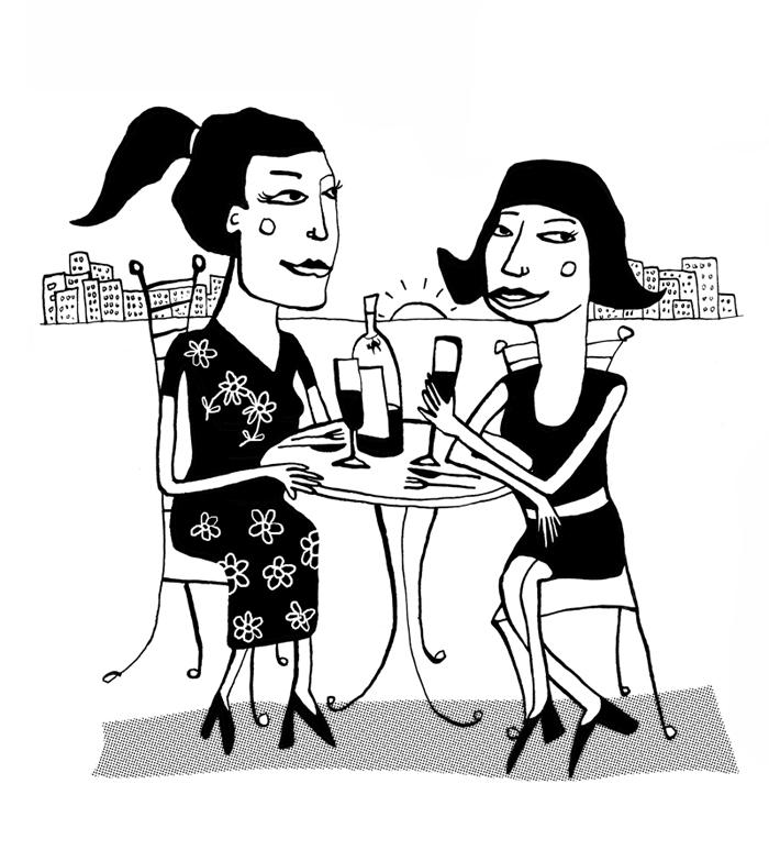 cartoon_illustratie_bliq_vrouwen_borrelen